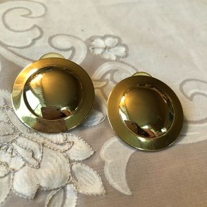 Vintage gold shield earrings